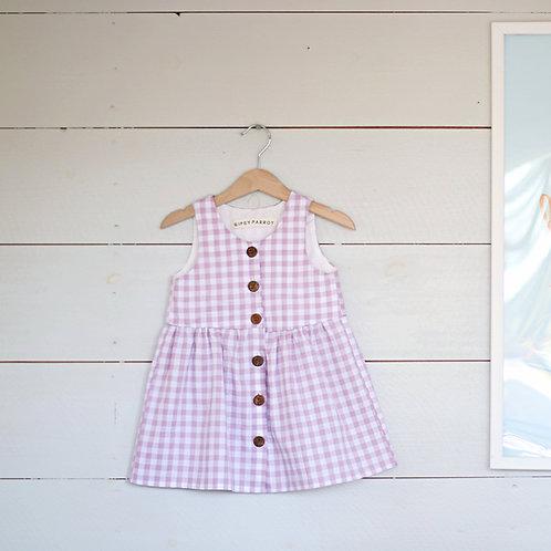 Vintage style button dress Lavendel