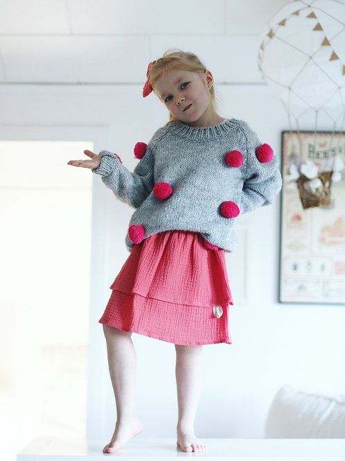 Strawberry smoothie / Double gauze skirt