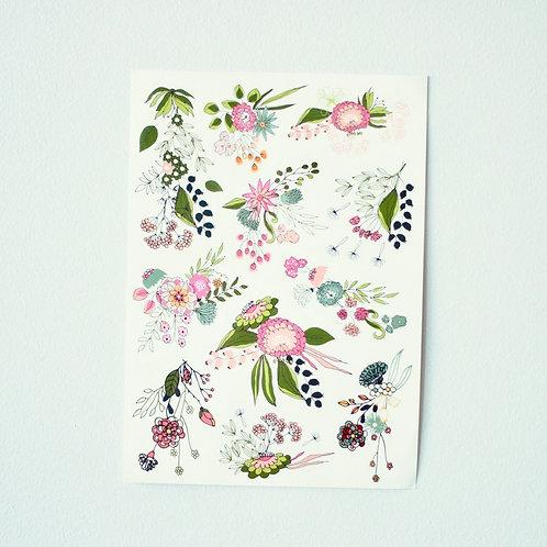 Vaaleanpuna-vihreät kukat leikkitatuointi
