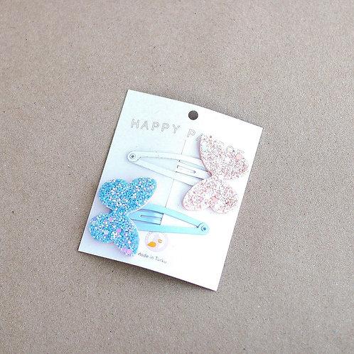 Perhospinnit, glitter blue 2 kpl