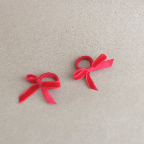 Red ribbons BABY -hairbands x 2