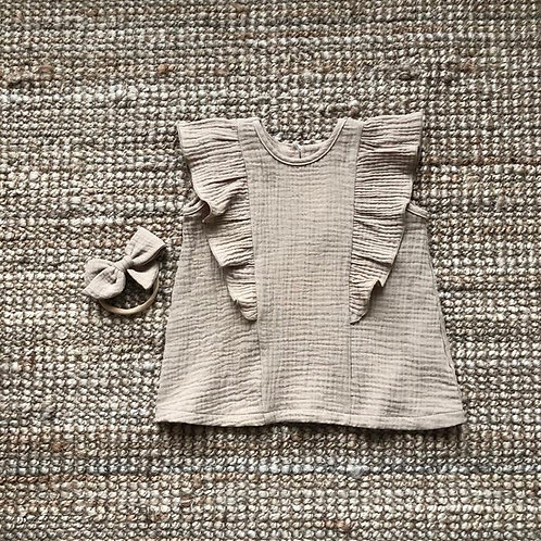 Ruffle dress mini, Beige