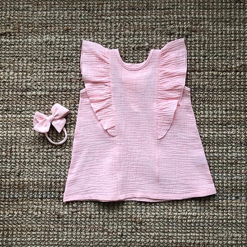 Ruffle dress mini peachy pink
