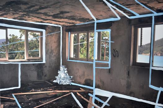 """""""Limpiando la casa/mirando el horizonte"""" óleo sobre fotografía digital impresa en lienzo  120 x 120 cm"""