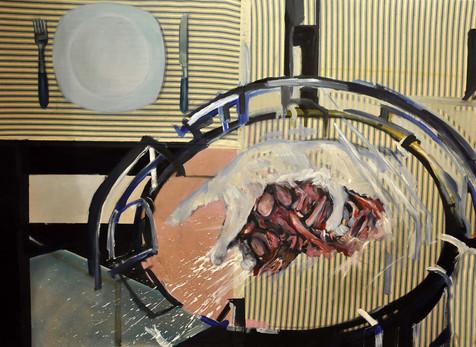 """""""estudio para bodegon II""""  óleo sobre tela reciclada y madera montados sobre bastidor"""