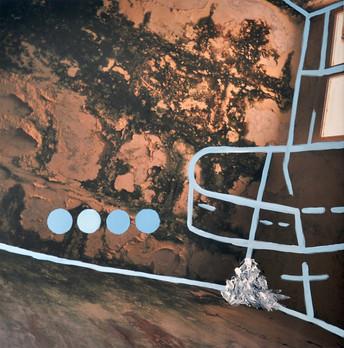 Limbo. El ruiseñor azul se alimenta de lágrimas dulces. óleo sobre fotografía digital impresa en lienzo  120 x 120 cm
