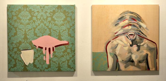 """""""Ornitología para pájaros vol. II"""" óleo sobre tela reciclada y madera  2x( 70 x70 xm)"""
