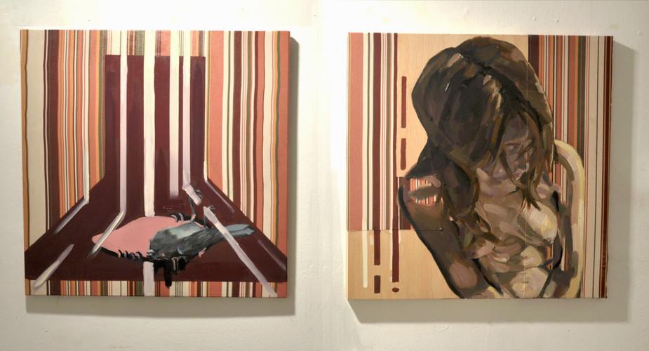 """""""Ornitología para pájaros vol. I"""" óleo sobre tela reciclada y madera  2x( 70 x70 xm)"""