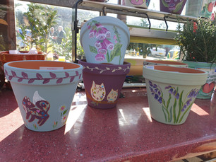 Hand painted pots £8