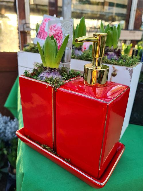 Red soap dispenser planter