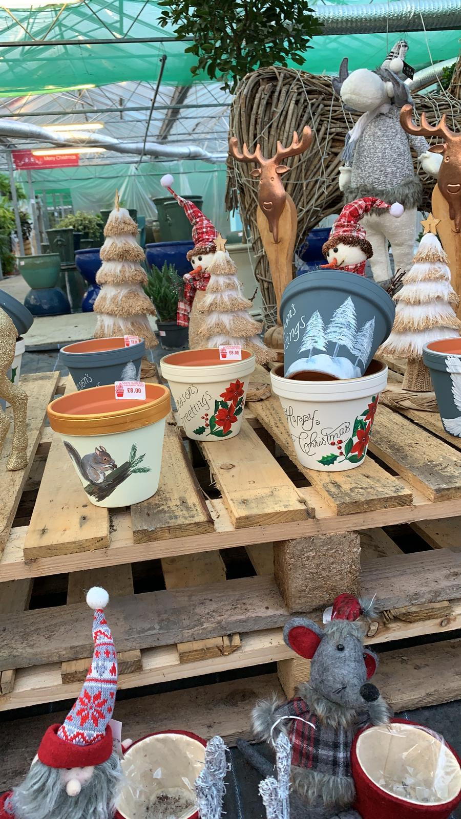 Xmas hand painted pots