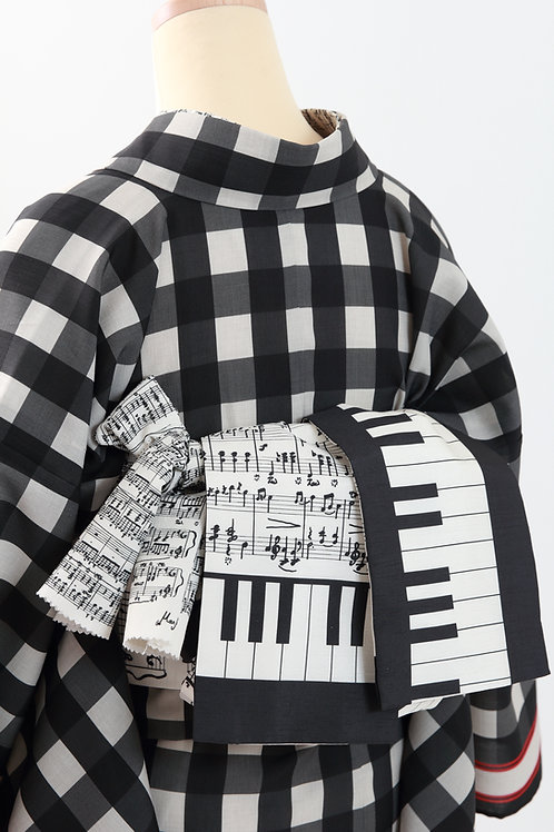 半幅帯 waltz ワルツ 鍵盤楽譜柄