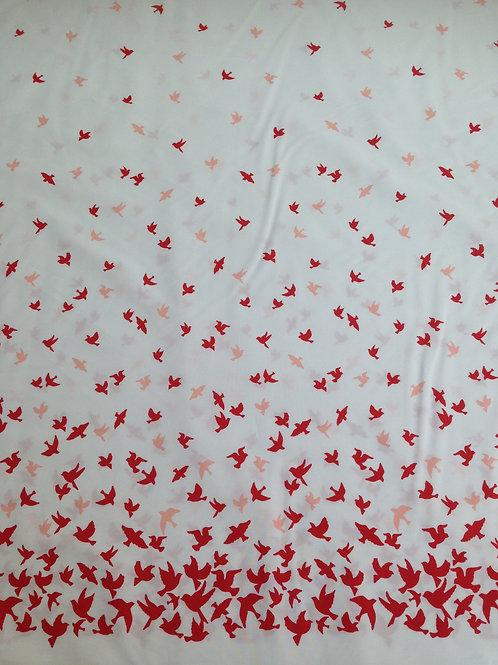 Borderstof wit/rode vogels