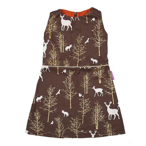 mouwloze jurk gouden boompjes maat 98