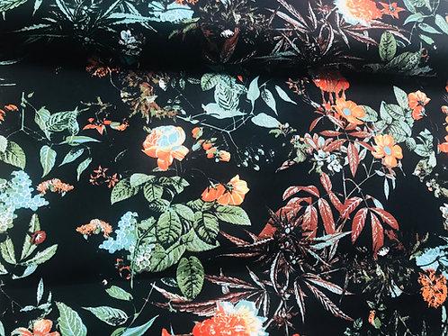 Satijnkatoen stretch bloem op zwart