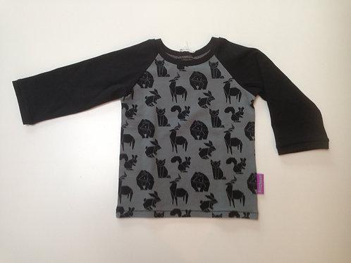 t-shirt origami dieren zwart/grijs
