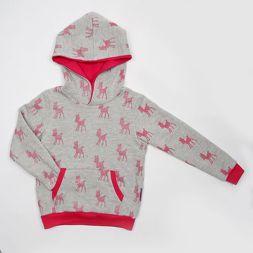 kaptrui roze glitterbambi maat 104