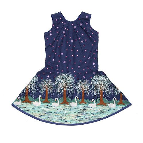 jurk met geplooid bovenstuk zwanenmeer maat 110