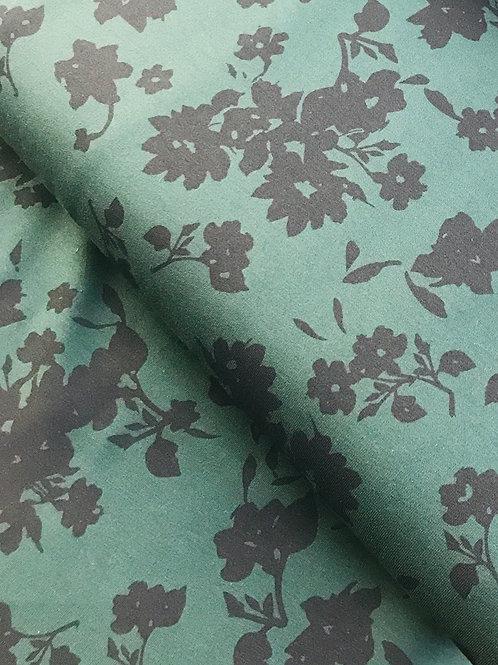 French terry bloem groen