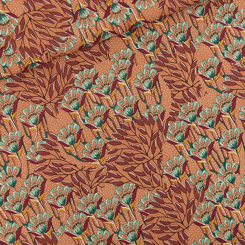 SYAS Gilly Flowers - viscose rayon - zonnebrandbruin