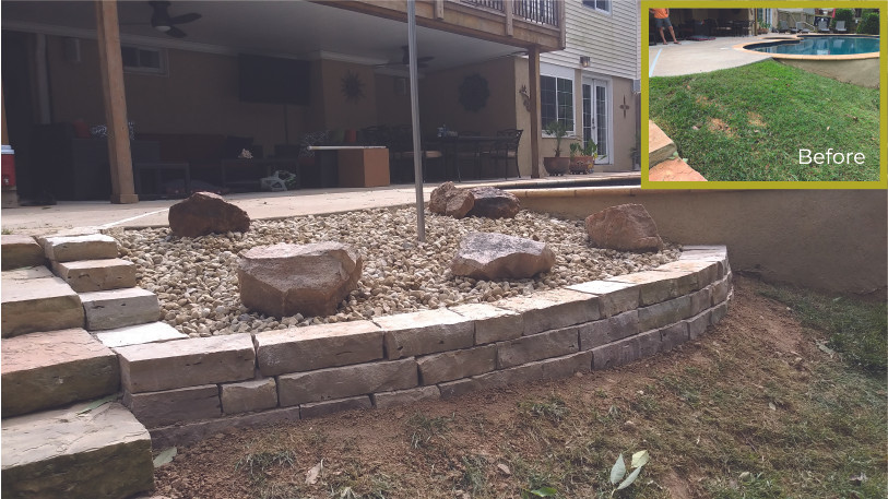 Small Retaining Wall and Rock Bed