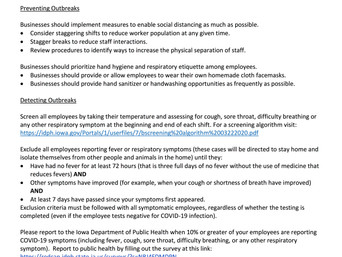 The Iowa Dept of Public Health release new guidance for businesses