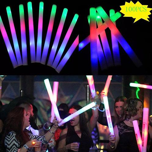 LED Glow Foam Sticks - 100 Pieces