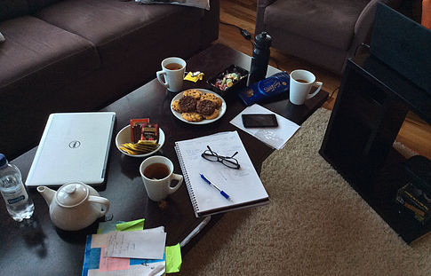 The table of a writing retreat working on the last part of the thesis. This trip helped also on the team-building and sharing experiences and feelings relevant to our PhD life.