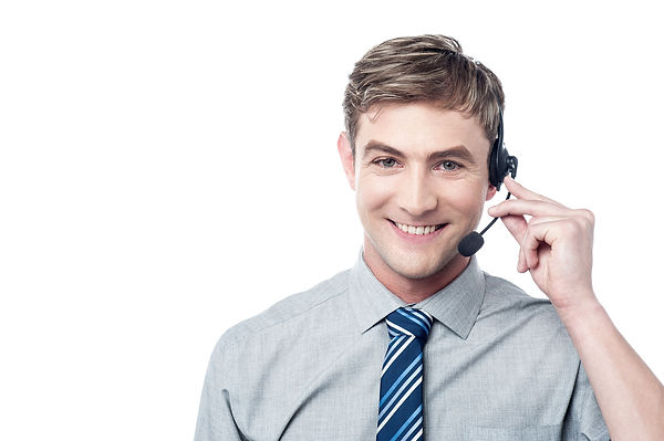Happy young male customer support execut