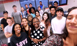 Dr.  Nads with freshman students at Palm Beach State College