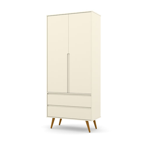 Roupeiro Retrô Clean 2 portas offwhite  - Matic Móveis