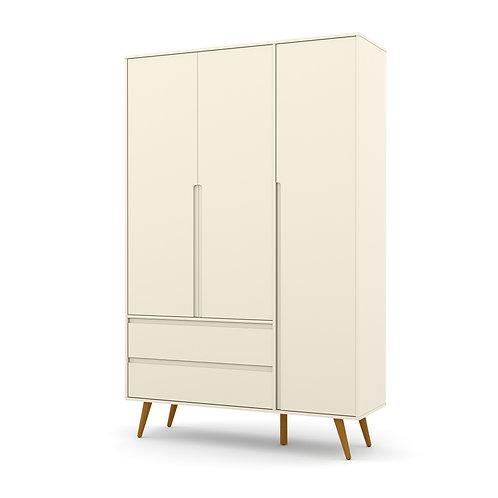 Roupeiro Retrô Clean 3 portas offwhite - Matic Móveis
