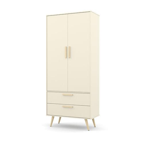 Roupeiro Retrô 2 portas offwhite/natural - Matic Móveis