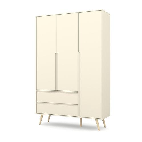 Roupeiro Retrô Clean 3 portas offwhite/natural - Matic Móveis