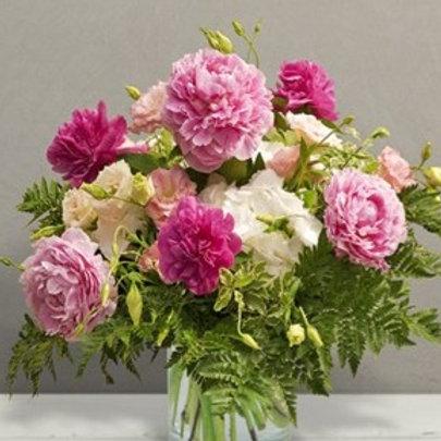 Bouquet di 8 Peonie, Lisyantus e verde decorativo