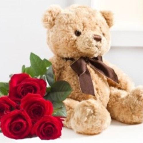 Bouquet di 7 Rose rosse e orsetto di peluches h30 cm