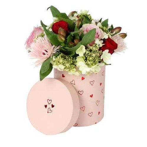 Scatola cilindro 13x18h con bouquet misto
