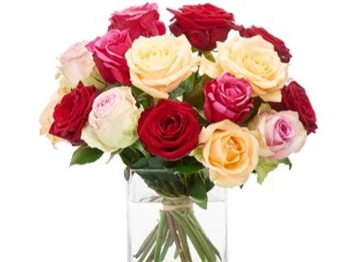 Bouquet di 18 Rose mix gambo medio