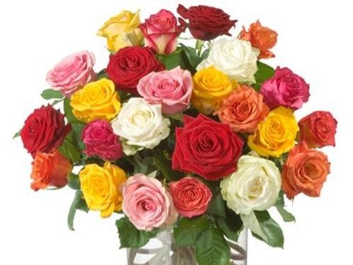 Bouquet di 30 Rose mix gambo medio