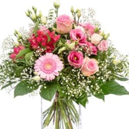 Bouquet di Rose, alstromeria, lisianthus, gerbere, gypsophila e verde decorativo