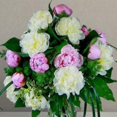 Bouquet di 18 Peonie mix e verde decorativo