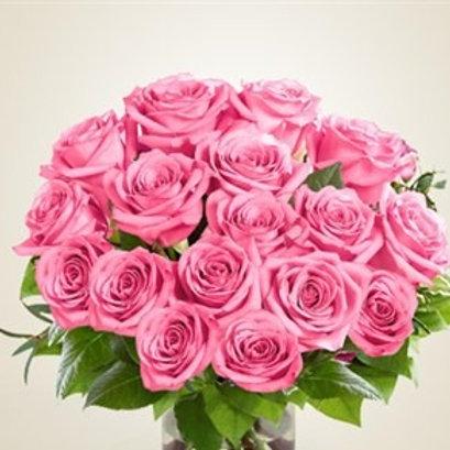Bouquet di 21 rose rosa a gambo corto con verde decorativo