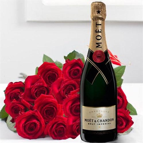 Bouquet di 15 rose rosse e bottiglia Moet 75ml