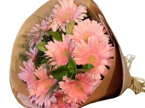Bouquet di 12 Gerbere  grandi con verde decorativo