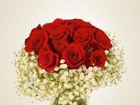 Bouquet compatto di 12 Rose rosse supra con Gypsophila
