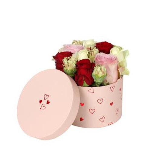 Scatola cilindro basso 14x10h con rose e lisianthus