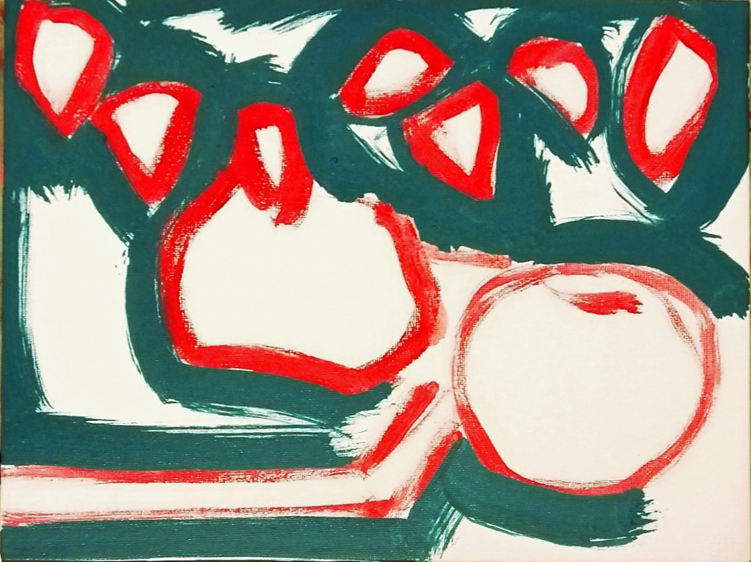 Plant and Apple, painted sketch