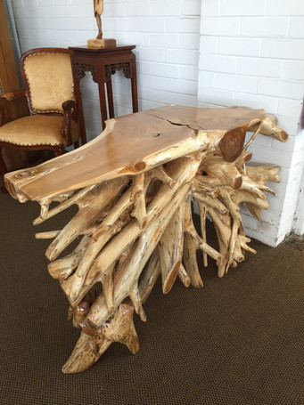 Teak Hall Table Natural Root Stucture .j