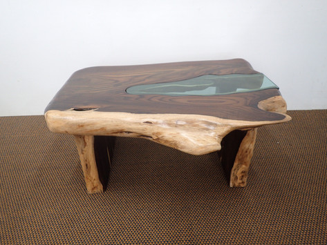 Natural Shape Teak Coffee Table with Gla
