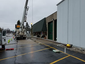 Crane Installation of 80' Flagpole (Lind